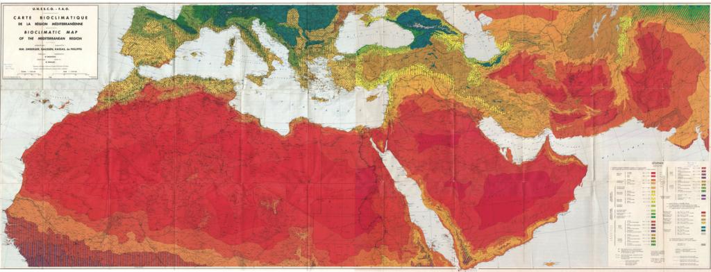 Bioclimatic map of the Mediterranean region